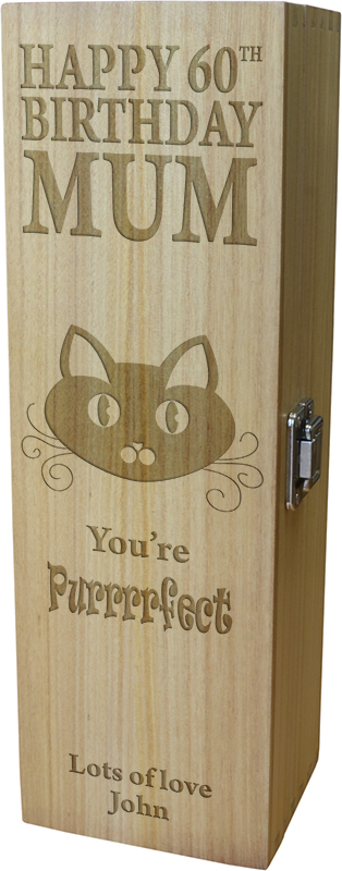 "Happy Birthday Wine Box - You're Purrfect 35cm (13.75"")"