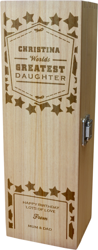 """Personalised Wooden Wine Box - World's Greatest Daughter 35cm (13.75"""")"""
