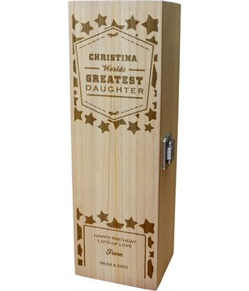 "Personalised Wooden Wine Box - World's Greatest Daughter 35cm (13.75"")"