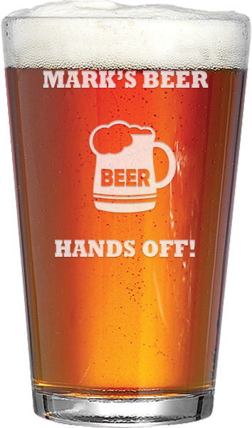 """My Beer Hands Off Personalised Pint Glass 15cm (6"""")"""