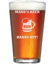 "My Beer Hands Off Personalised Pint Glass 15cm (6"")"