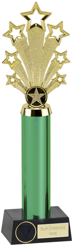 "Green Fanfare Star Column Trophy 28cm (11"")"