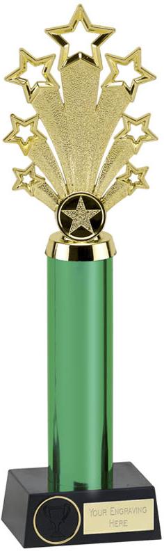 "Green Fanfare Star Column Trophy 33cm (13"")"