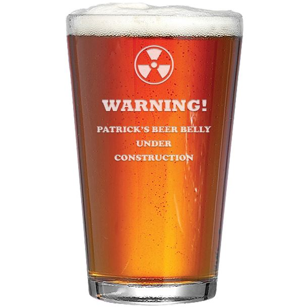 """Warning Beer Belly Under Construction Personalised Pint Glass 15cm (6"""")"""