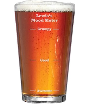 """Mood Meter Feeling Awesome Personalised Pint Glass 15cm (6"""")"""