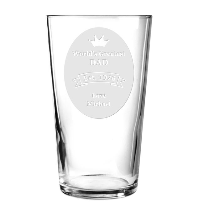 "World's Greatest Dad Personalised Pint Glass 15cm (6"")"