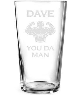 "You Da Man Personalised Pint Glass Strongman Design 15cm (6"")"