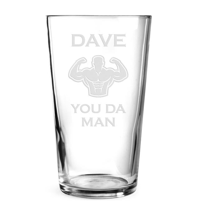 "You Da Man Personalised Pint Glass Strongman Design 15cm (6"")"