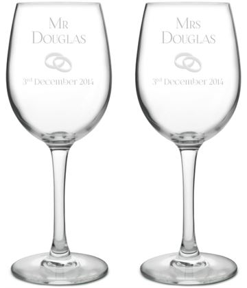"Mr & Mrs Wedding/Anniversary Personalised Wine Glass Set 20.5cm (8"")"