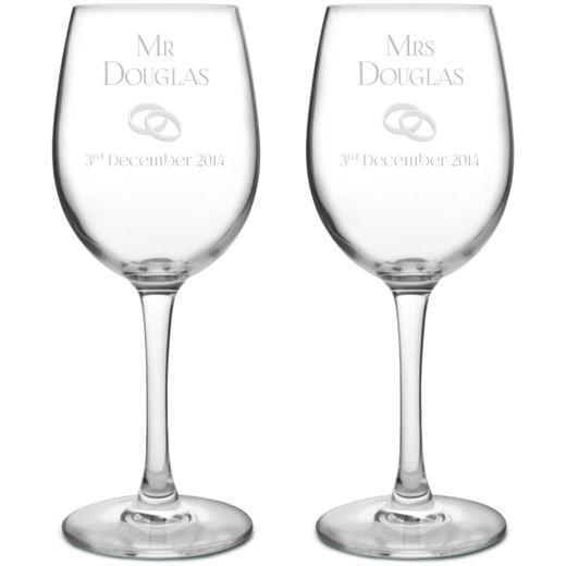 Mr & Mrs Wedding/Anniversary Personalised Wine Glass Set