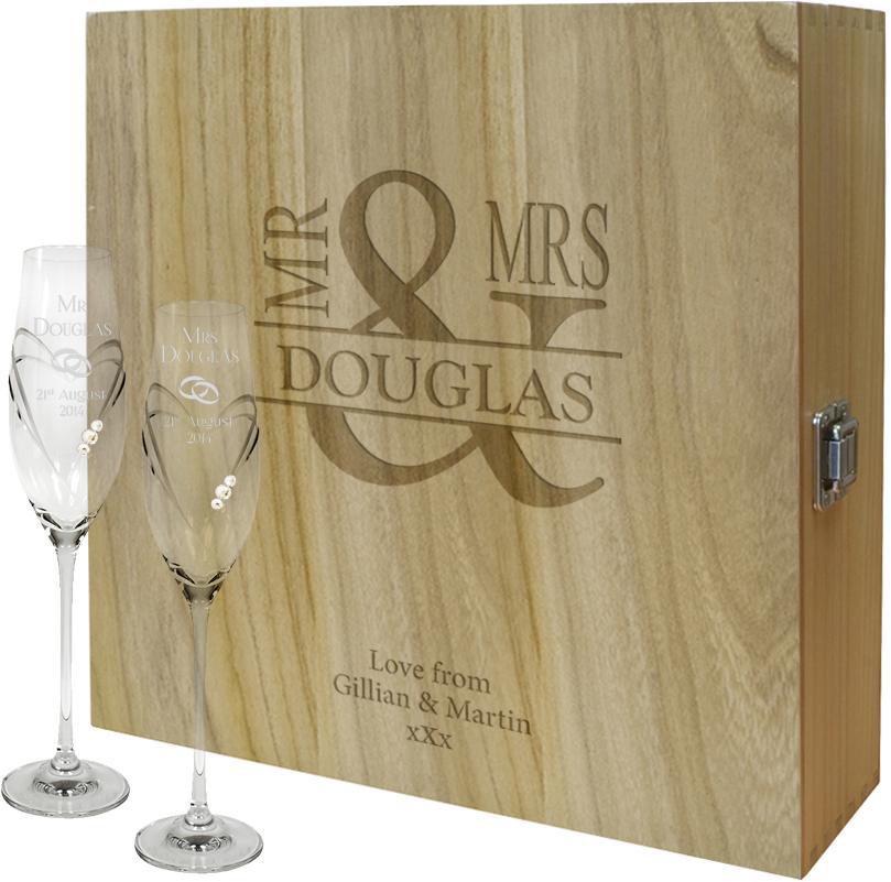"Mr & Mrs Personalised Wine Box & Champagne Flutes Gift Set 35cm (13.75"")"