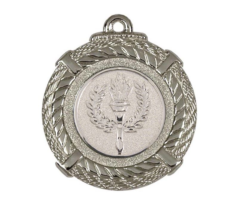 """Silver Rope Medal with Centre Disc 50mm (2"""")"""