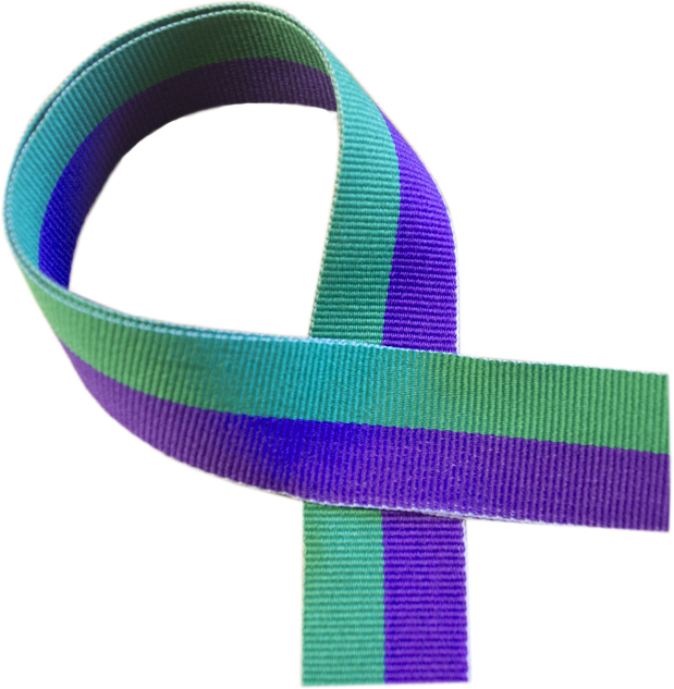 """Green and Purple Medal Ribbon 76cm (30"""")"""