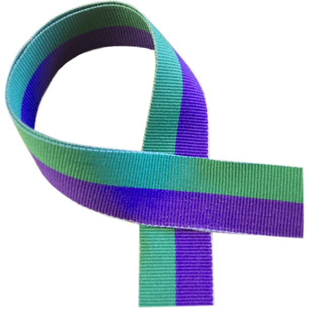 "Green and Purple Medal Ribbon 80cm (32"")"
