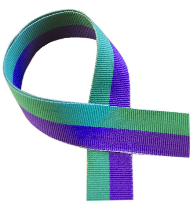 """Green and Purple Medal Ribbon 80cm (32"""")"""