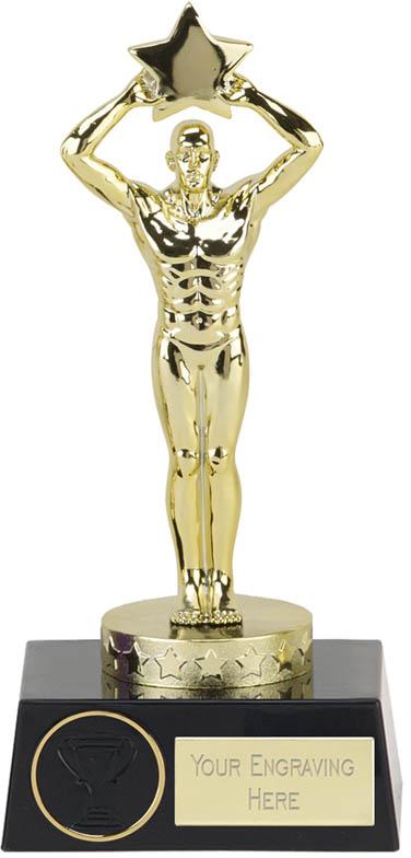 """Star Achievement Statue on Black Base Trophy 18cm (7"""")"""