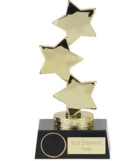 "Hope Gold Three Star on Black Base Trophy 18.5cm (7"")"