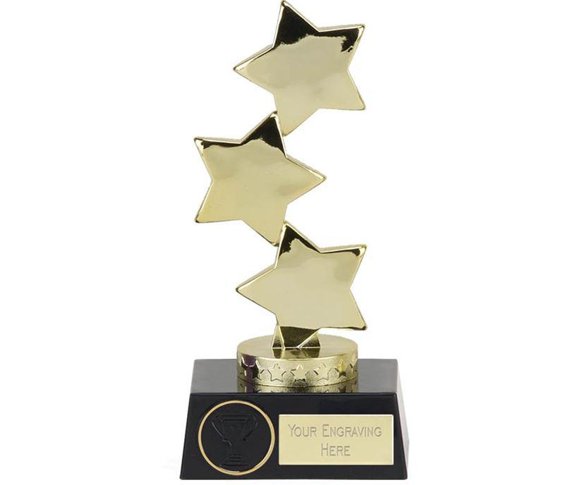"Hope Gold Three Star on Black Base Trophy 18.5cm (7"")"