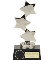 "Hope Silver Three Star on Black Base Trophy 18.5cm (7"")"