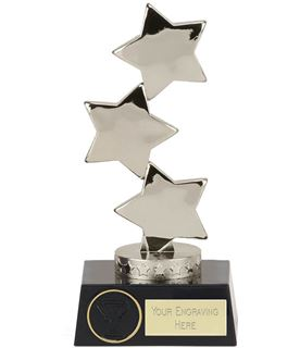 "Hope Silver Three Star on Black Base Trophy 18.5cm (7"")"