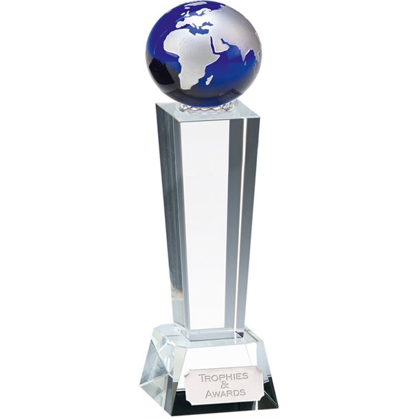 "Optical Crystal Unite Blue Globe Glass Award 17cm (6.75"")"