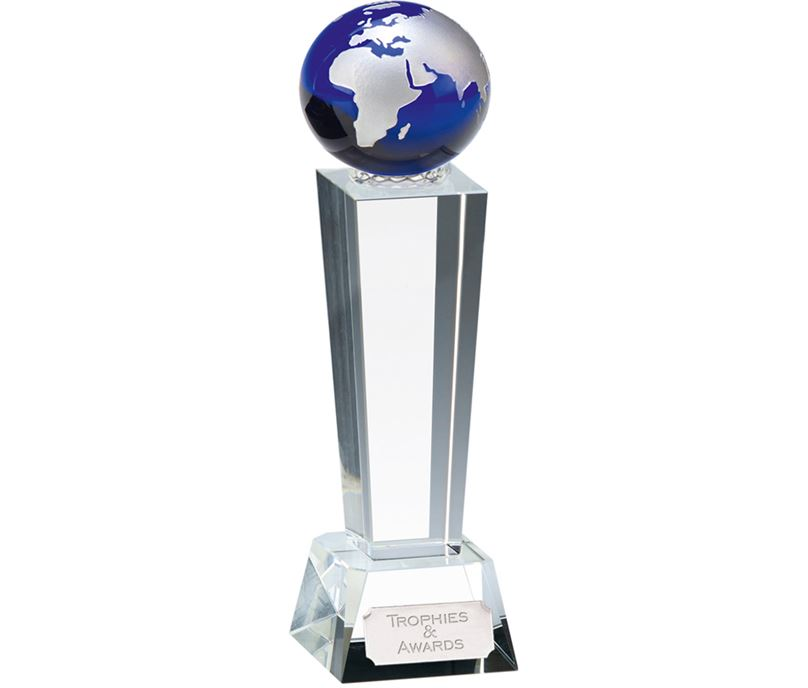 "Optical Crystal Unite Blue Globe Glass Award 21.5cm (8.5"")"