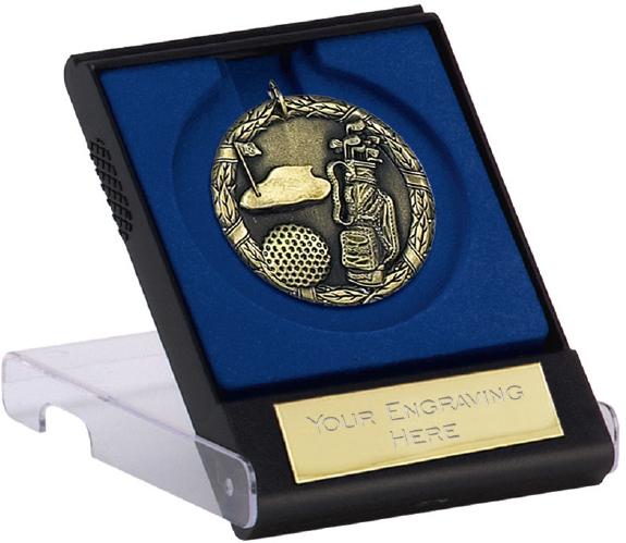 """Gold Laurel Wreath Golf Medal with Medal Case 50mm (2"""")"""
