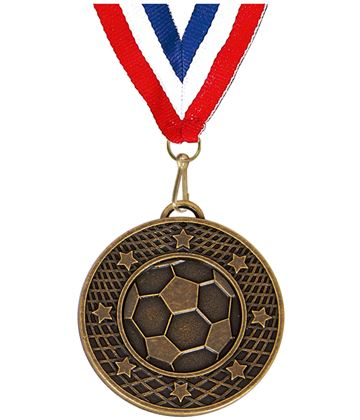 "Bronze Football Stars & Net Medal with Red, White & Blue Ribbon 5cm (2"")"