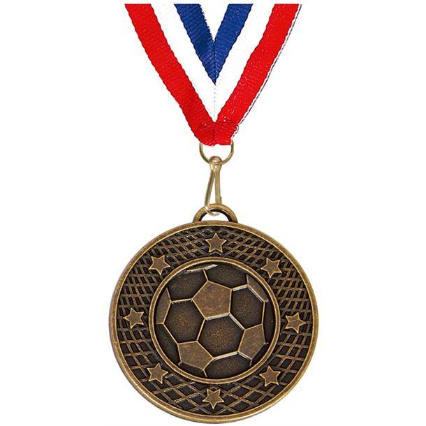 """Bronze Football Stars & Net Medal 5cm (2"""")"""