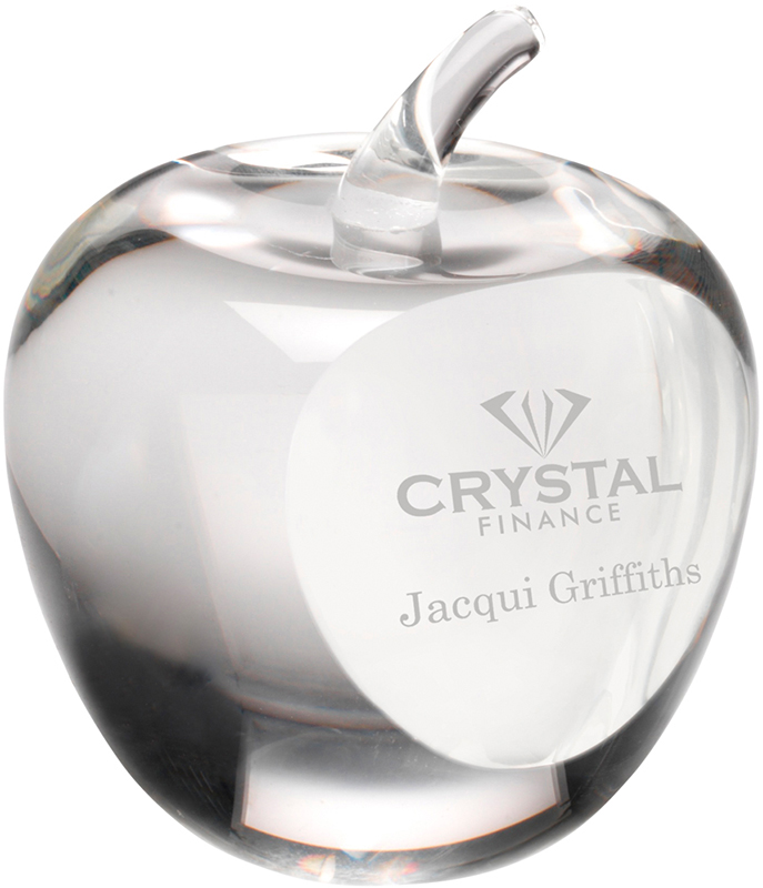 "Optical Crystal Apple Paperweight with Presentation Box 9cm (3.5"")"