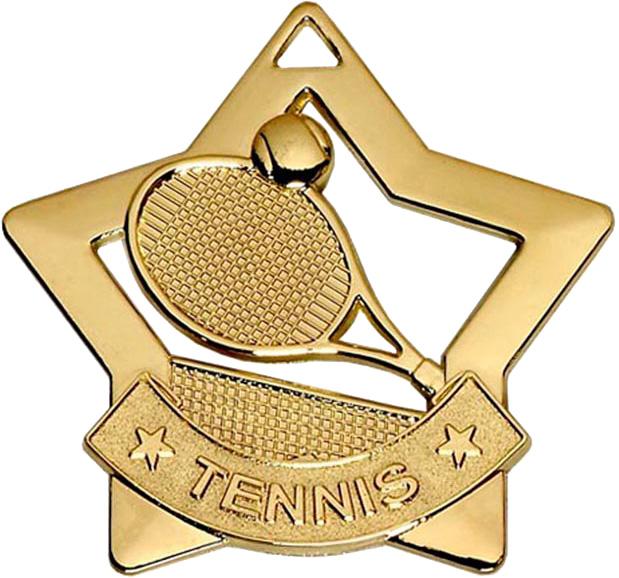 """Gold Mini Stars Tennis Medal 60mm (2.25"""")"""