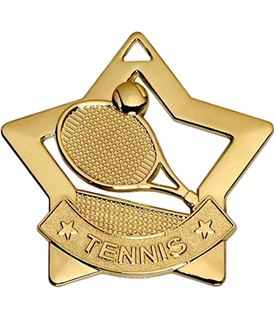"Gold Mini Stars Tennis Medal 60mm (2.25"")"
