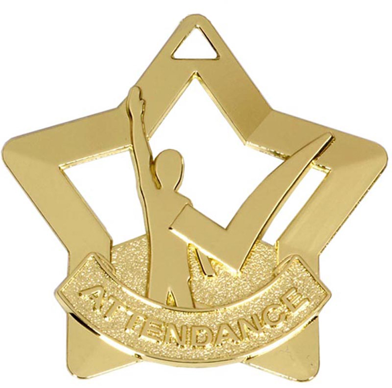 "Gold Mini Star Attendance Medal 60mm (2.25"")"