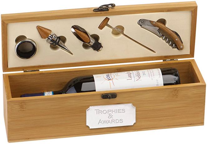 "Bamboo Finish Single Wine Presentation Box Set 36cm (14.25"")"