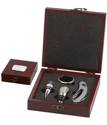 "Rosewood Finish 4 Piece Wine Gift Set 19.5cm (7.75"")"