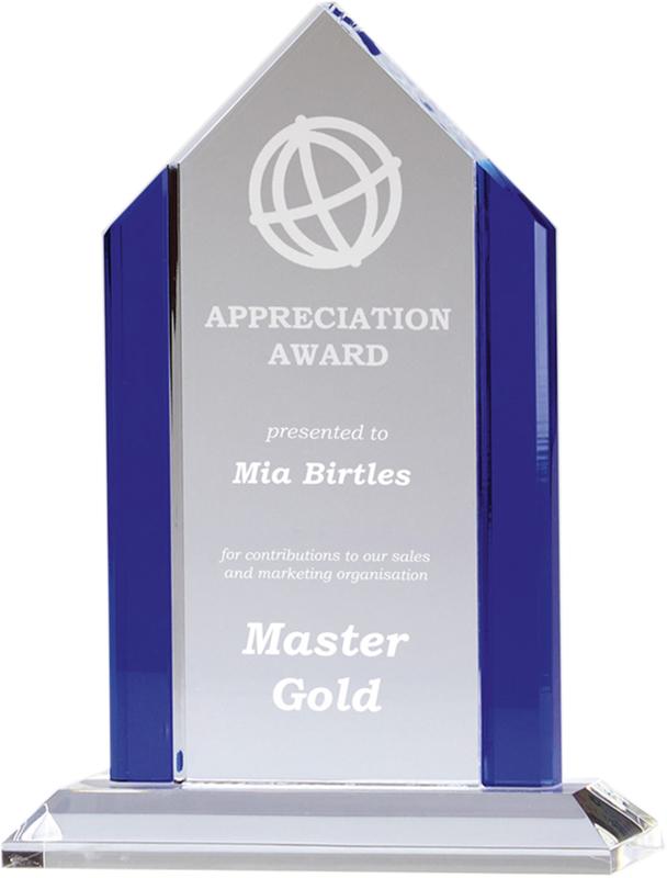 "Clear & Blue Jordan Peak Acrylic Award 19cm (7.5"")"