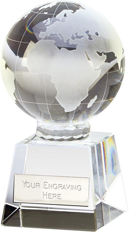 "Victory Globe Optical Crystal Glass Award 14cm (5.5"")"