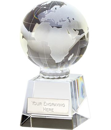 "Victory Globe Optical Crystal Glass Award 9cm (3.5"")"