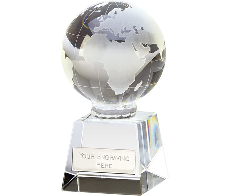 "Victory Globe Optical Crystal Glass Award 14cm (5.5"")"