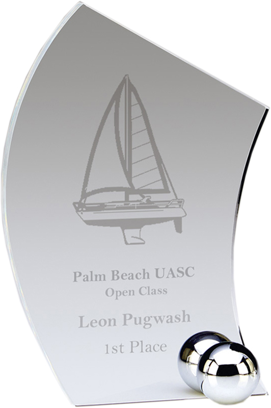"""Clear Sail Shaped Acrylic Award with Silver Fixings 19cm (7.5"""")"""