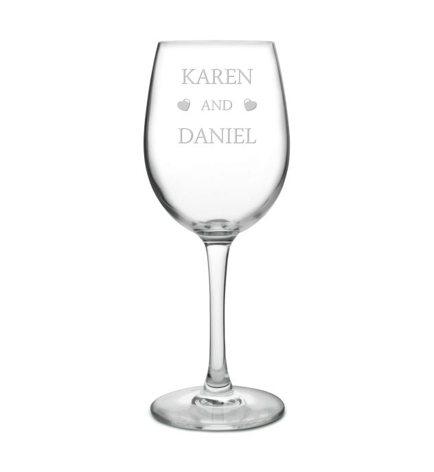 "You & Me Love Hearts Large Personalised Wine Glass 20.5cm (8"")"