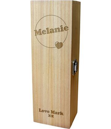 "Love Heart & Circle Design Personalised Single Wine Box 35cm (13.75"")"