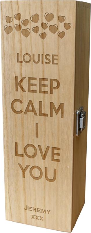 "Keep Calm I Love You Heart Design Wine Box 35cm (13.75"")"
