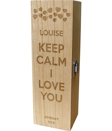 "Keep Calm I Love You Heart Design Wine Box 35cm (13.75"")"