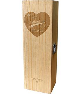 "Be My Valentine Personalised Single Wine Box 35cm (13.75"")"