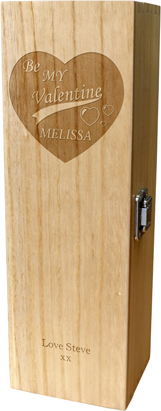 "Be My Valentine Personalised Single Wine Box 35cm (13.75"")"