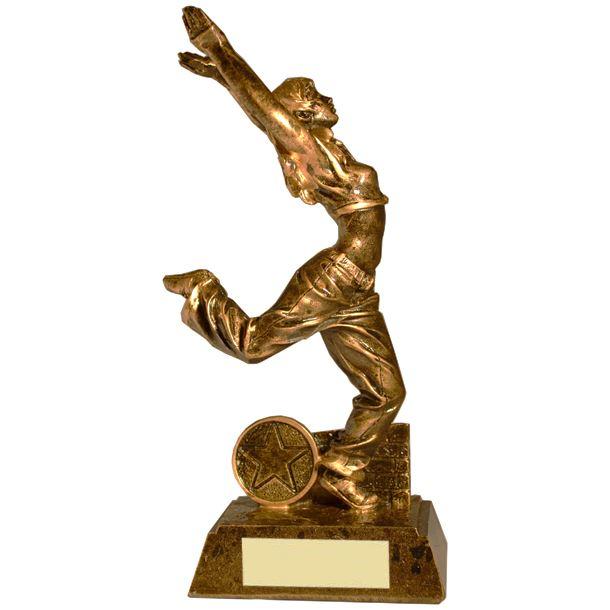 "Antique Gold Resin Female Street Dance Trophy 19cm (7.5"")"