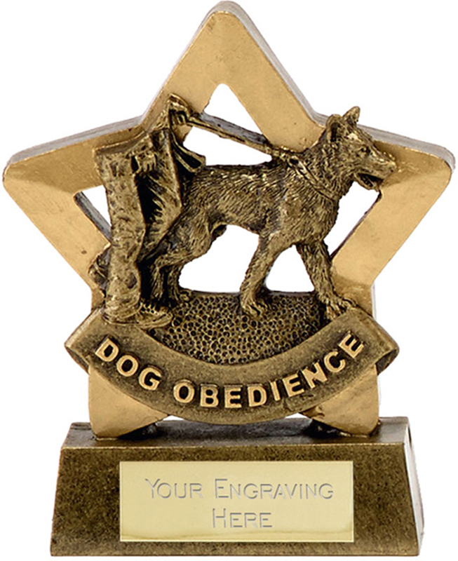 "Antique Gold Resin Mini Star Dog Obedience Trophy 8.5cm (3.25"")"