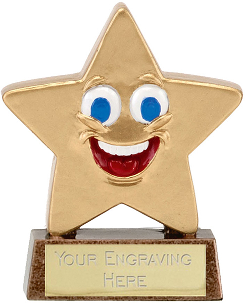 "Gold Resin Happy Face Mini Star Trophy 8.5cm (3.25"")"
