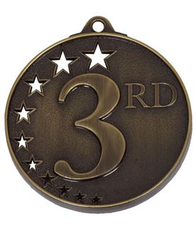 """Bronze 3rd Place Medal with Stars 52mm (2"""")"""